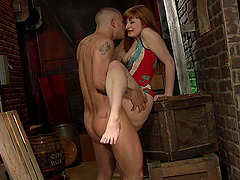 Mature redhead babe Violet Monroe pounded doggy style on the chair