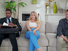 Yoga MILF babe AJ Applegate ass and pussy fucked by a black guy