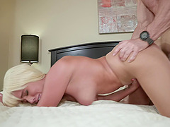 Blonde assistant Athena Palomino takes cum in mouth from her boss