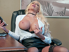 Office lesbian sluts Nicolette Shea and Shay Evans please each other