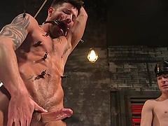 Kinky gay BDSM fetish session with mature horny dudes in a dungeon