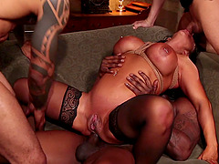 Interracial gangbang for slutty dark haired Raven Hart