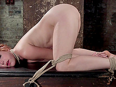 Small tits redhead Amarna Miller tied up and tortured for your pleasure