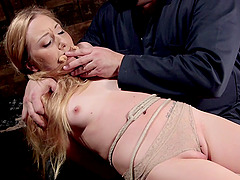 Kinky Emma Haize in short uniform gets penetrated by a fuck machine