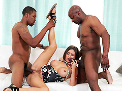 passionate Krissy Lynn enjoys interracial fuck with horny black dude