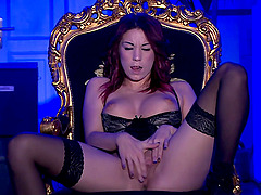 Natalie Hot masturbates on the bed thinking about friend's hard cock
