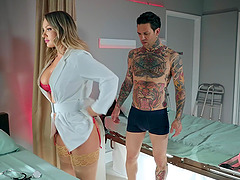Tattooed guy with hard cock is all about Cali Carter thinking all day