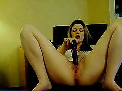 Horny girlfriend loves fucking her pussy with dildo