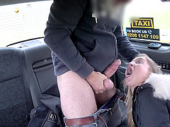 After dick licking Rhiannon Ryder sits on a driver's hard shaft
