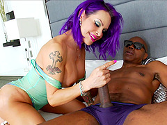 Purple haired shemale TS Foxxy gets fucked balls deep by a BBC