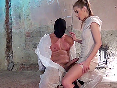 Bald dude tied up to the chair and pleasured by Alexis Crystal