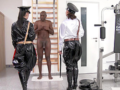 Big black dick dude tied up and tortured by Henessy and Athina Love