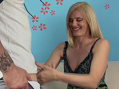Mature blonde with natural tits gives the best handjob ever