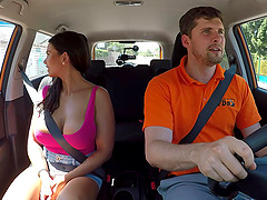 Rough fucking in the car with sweet amateur Chloe Lamour with nice tits