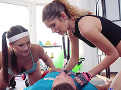 Wild FFM threesome in the gym with Barbara Bieber and Candice Demellza