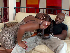 Sexy black babe gets her pussy reamed by a BBC Later another black babe joins