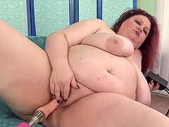 Big and bulky BBWs enjoy their fat pussies getting drilled by fucking machines