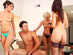 Dude gets pegged for all he's worth by Allie Jordan and other babes