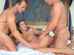Spit-roast MMF threesome with cock hungry Czech wife Line Slag