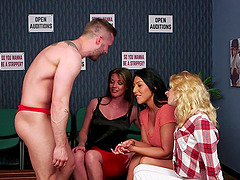 Sexy man gets his dick pleasured by horny April and her BFFs