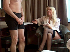 Skinny dude takes off his pants to be stroked by Jessica Rae
