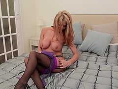 Smooth fucking on the bed with sexy Tia Layne in lingerie and stockings